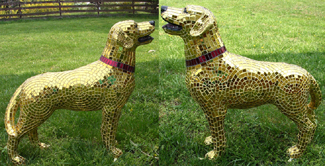 """Golden Retriever"" gold mirror glass mosaic. Created for Pawsitively Fredericksburg public art campaign"